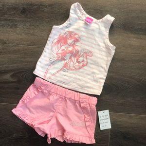 2t Disney Ariel matching tank top and shorts pink
